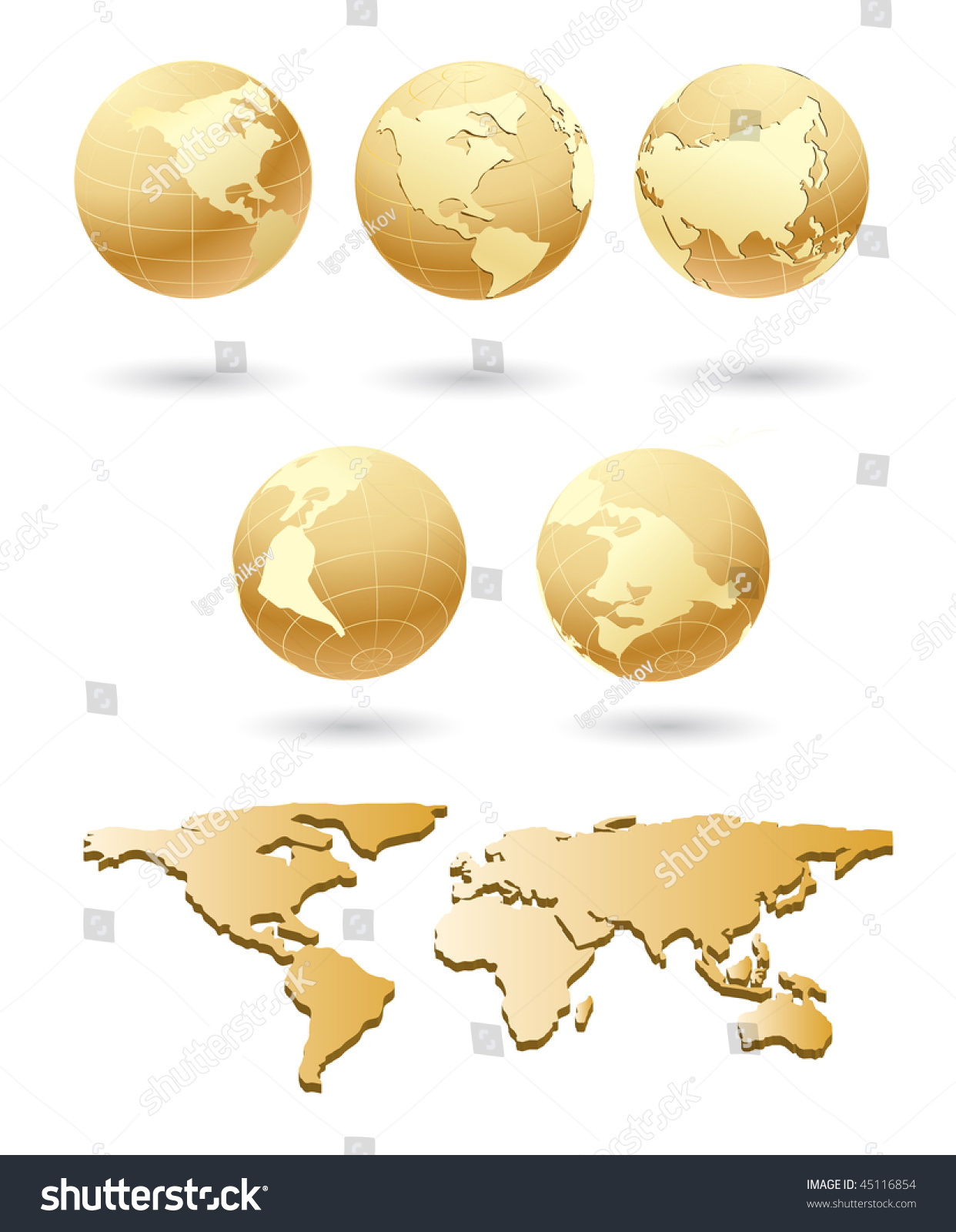 Vector golden globe world map stock vector 45116854 shutterstock vector golden globe with world map gumiabroncs Image collections
