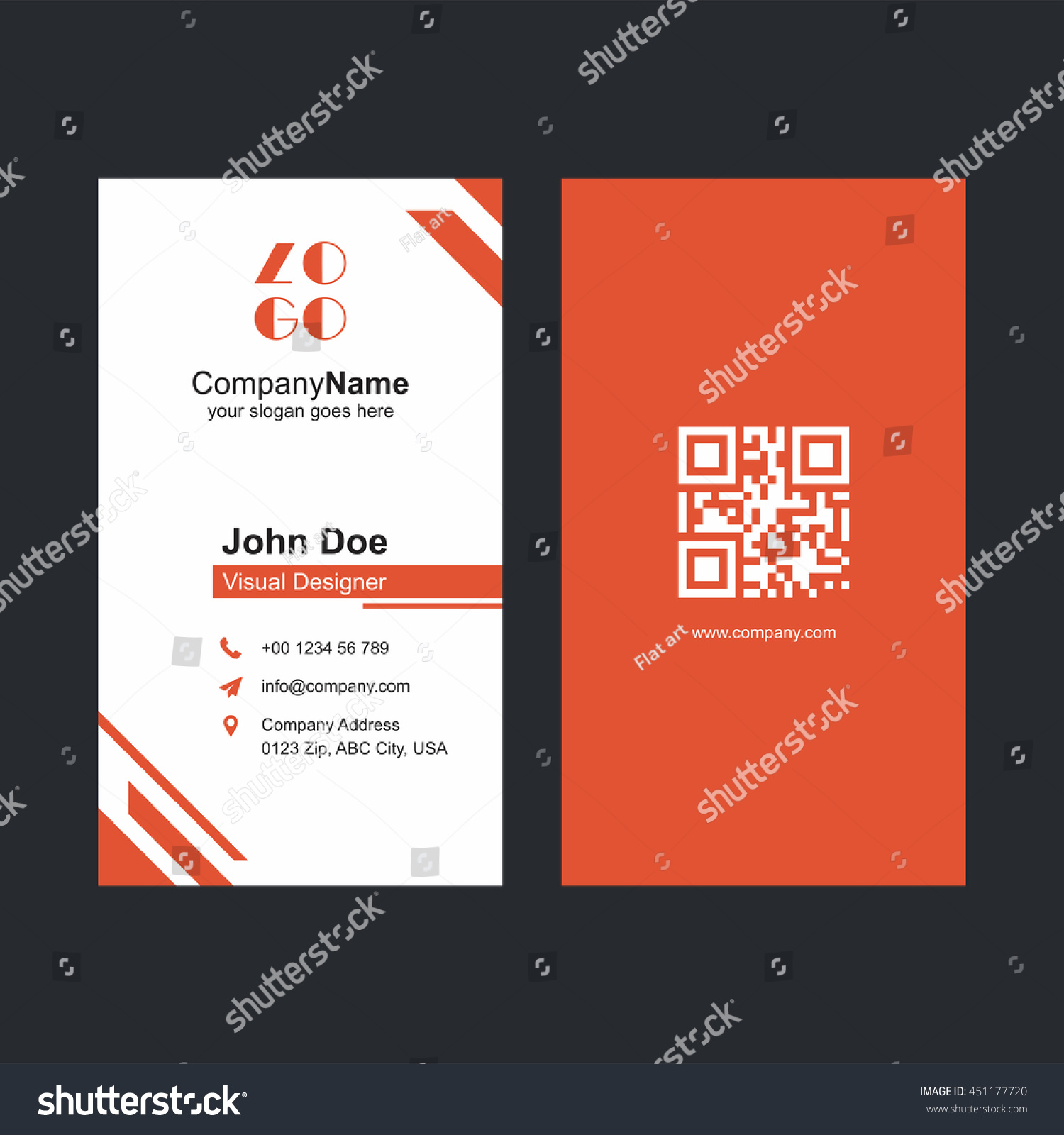 Corporate Orange Business Card Design Barcode Stock Vector ...