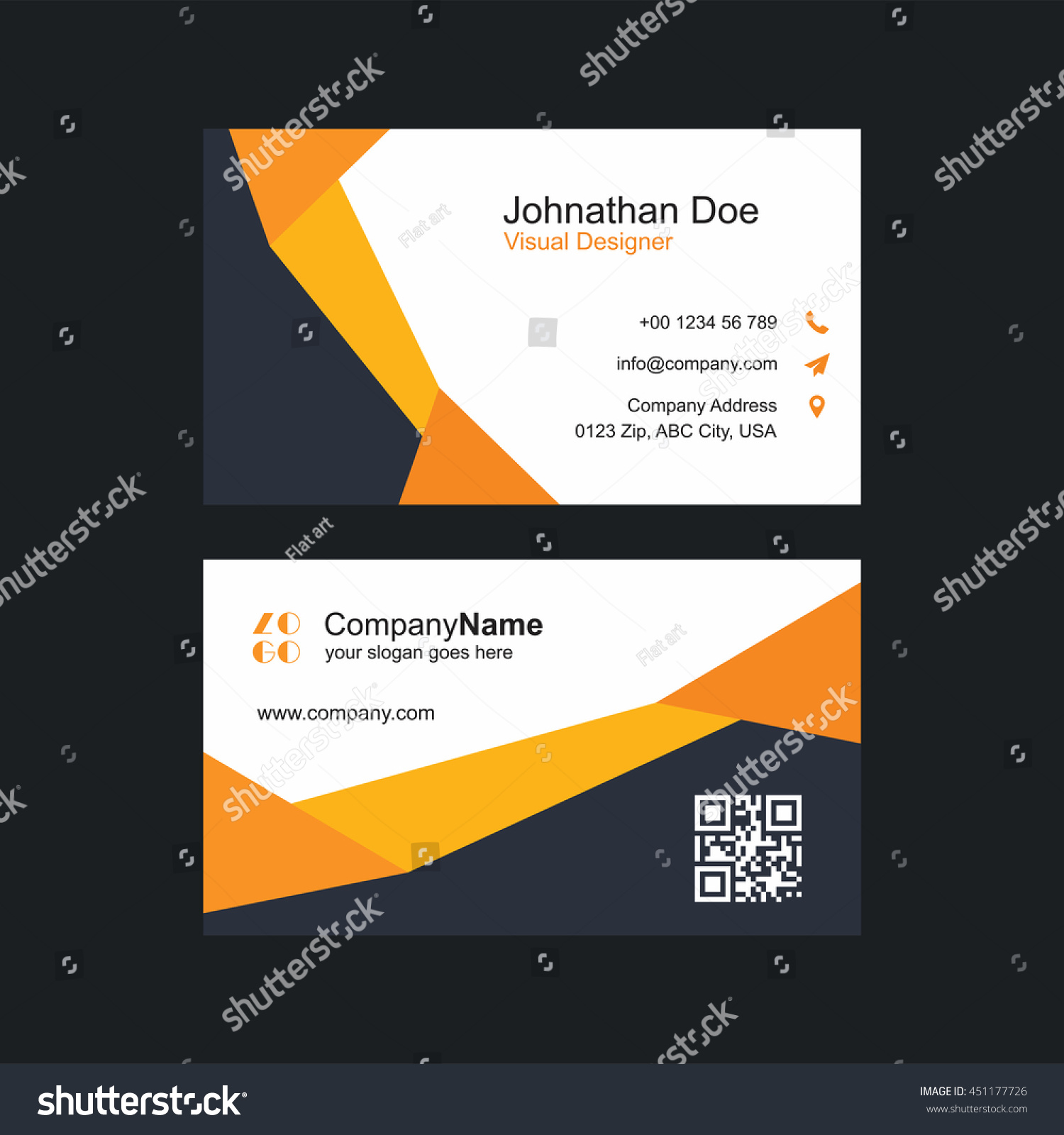 Modern Colorful Business Card Template Orange Stock Vector ...