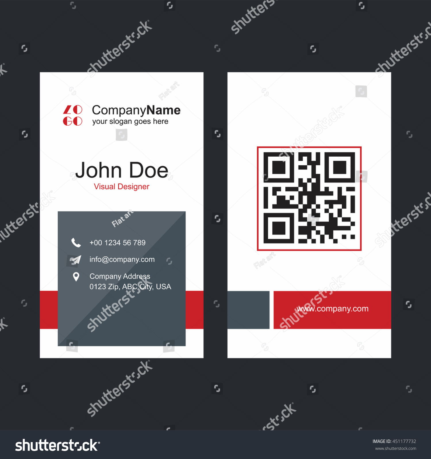 Red Gray Business Card Barcode Stock Vector 451177732 - Shutterstock