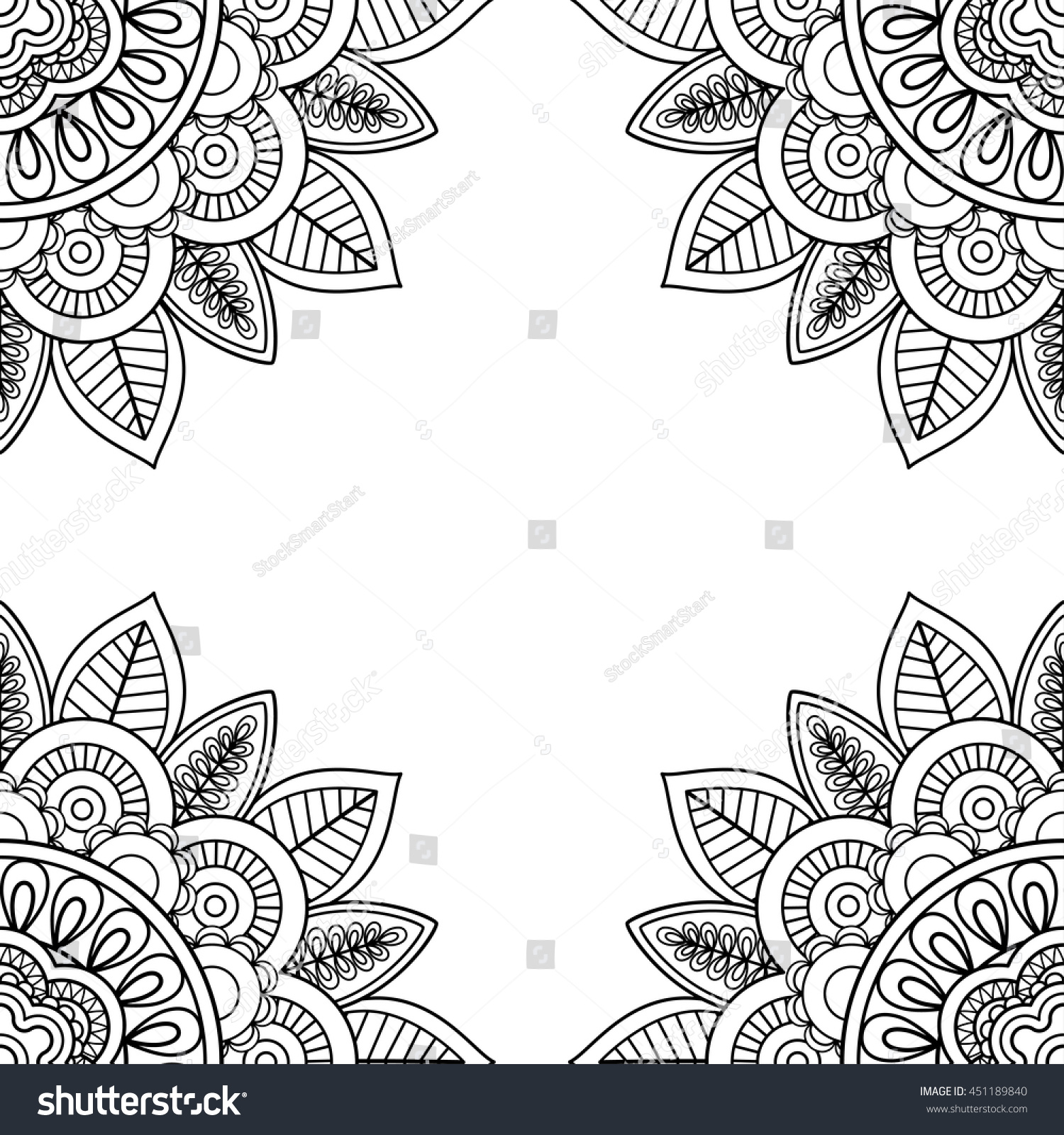 indian floral frame coloring pages book stock vector 451189840