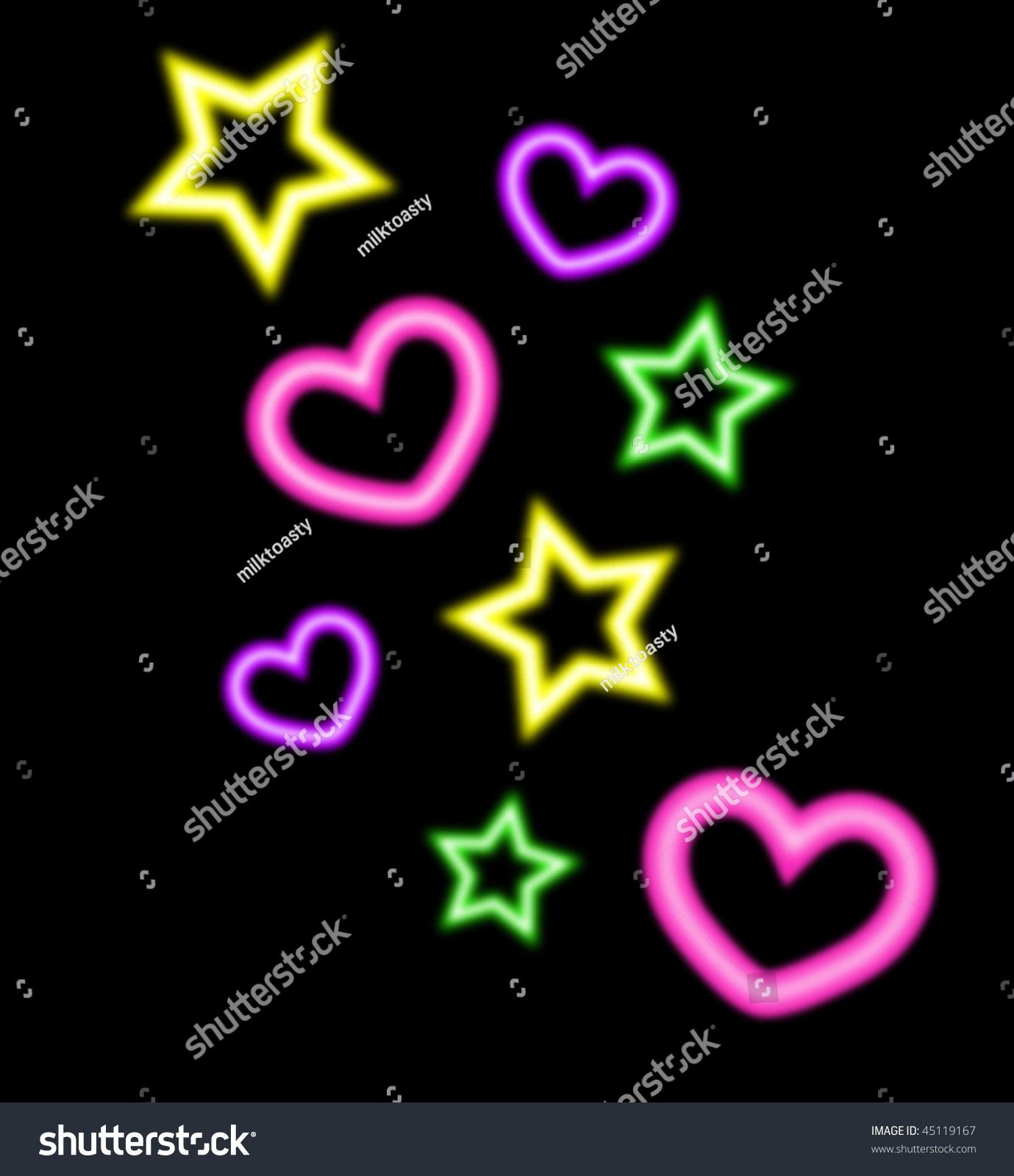 Neon Style Hearts Stars Vector Illustration Stock Vector Royalty Free 45119167