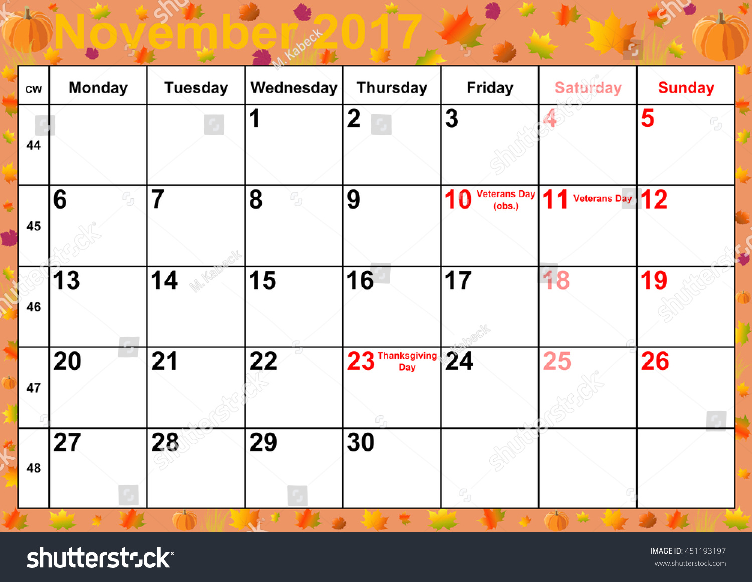 Calendar 2017 Months November Holidays Us Stock Illustration ...