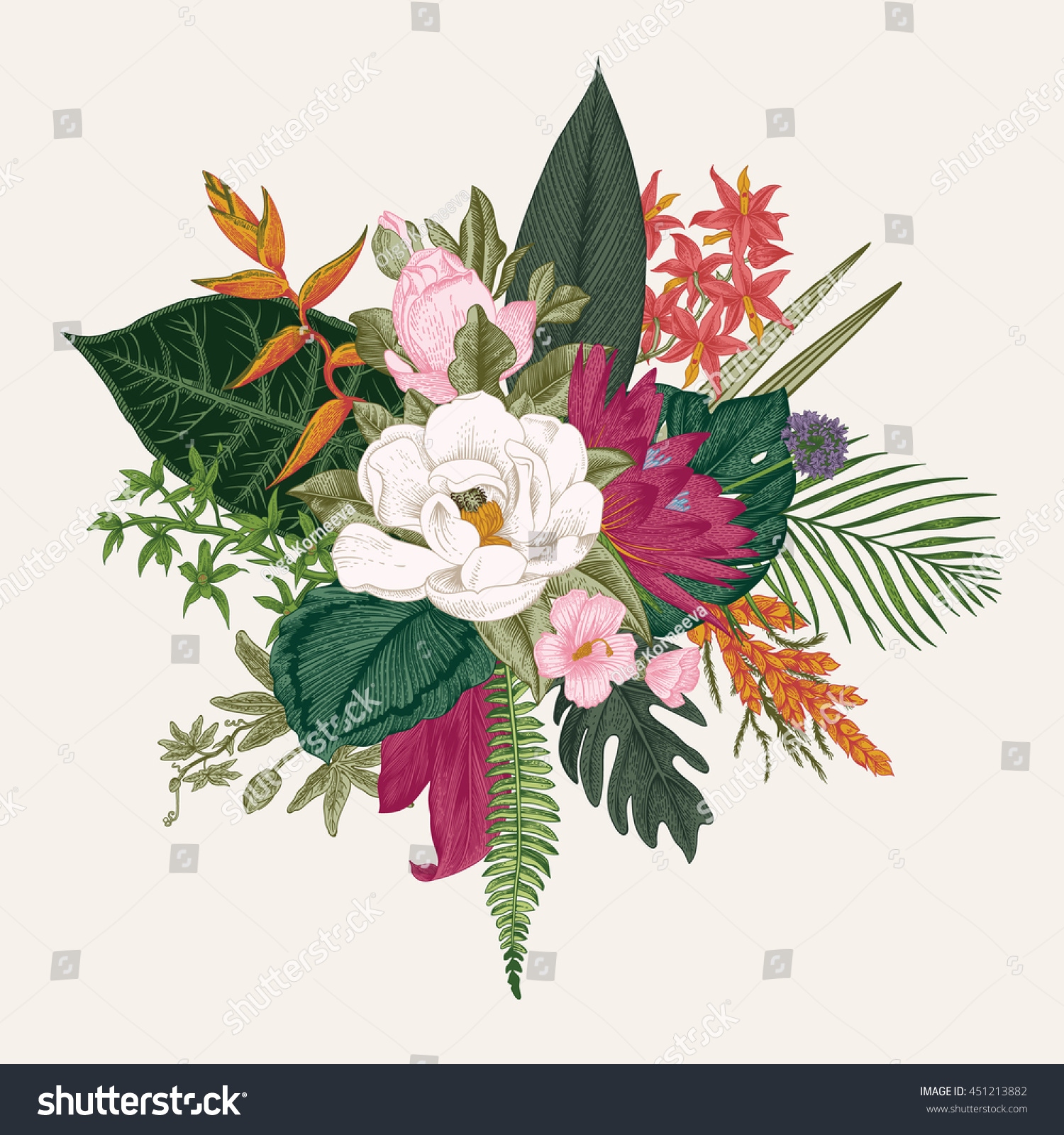 Bouquet Exotic Flowers Vintage Vector Illustration Stock Vector ...