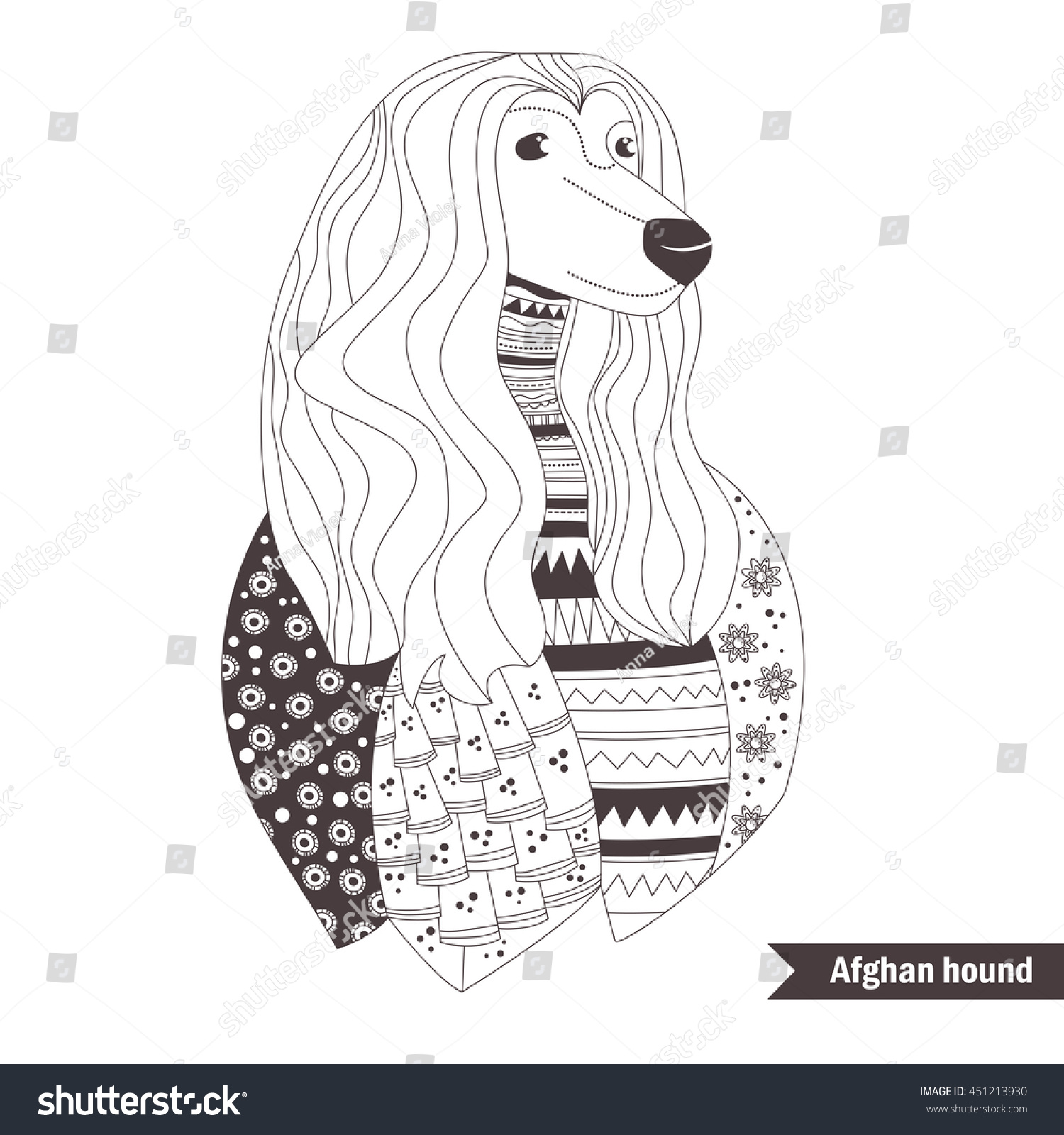 afghan hound zentangle style coloring book stock vector 451213930