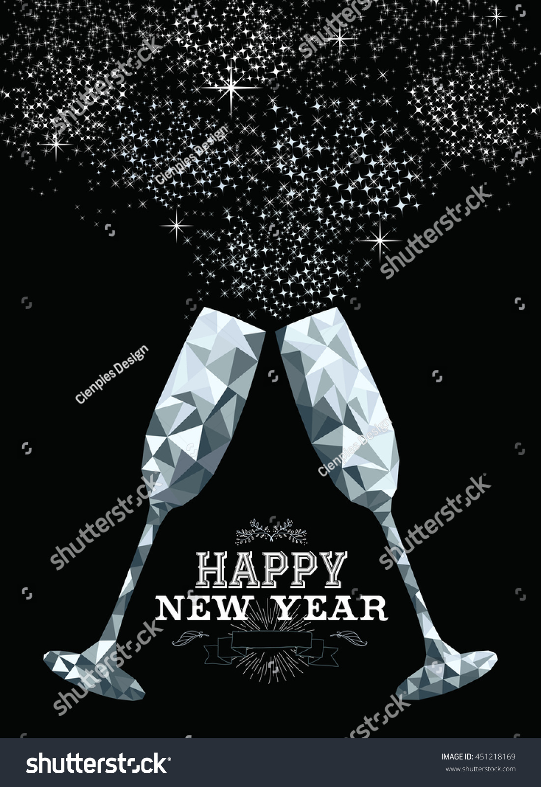 happy new year fancy silver glasses making a toast in hipster triangle low poly style