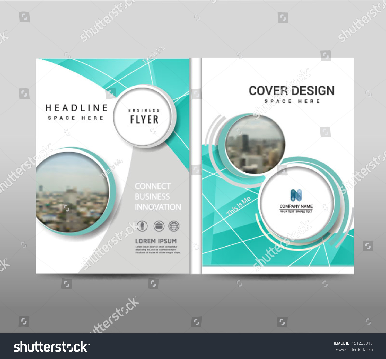 book report brochure template - vector blue annual report leaflet brochure stock vector