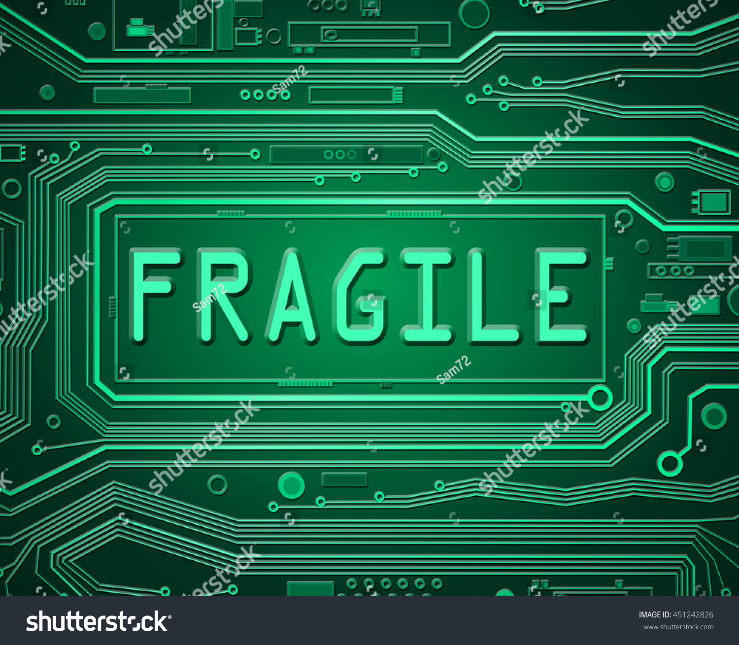 Abstract Style Illustration Depicting Printed Circuit Stock Electronic Board With Technology Against Fiber Components A Fragile Concept