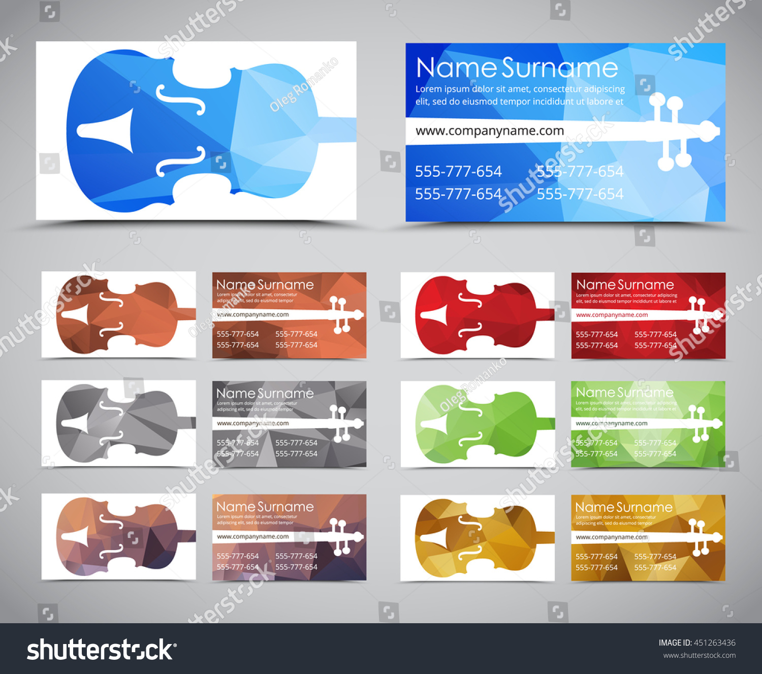 Design Polygonal Business Cards Musicians Music Stock Vector (2018 ...