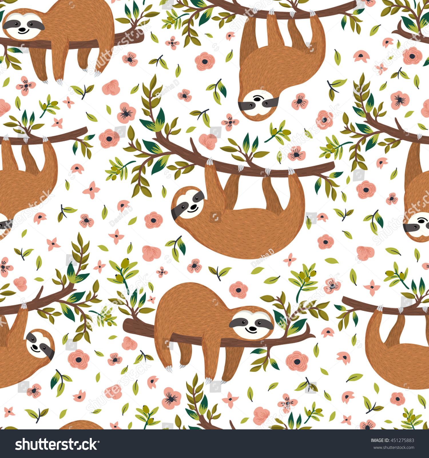 Vector cute sloth on tree seamless stock vector 451275883 - Sloth wallpaper phone ...