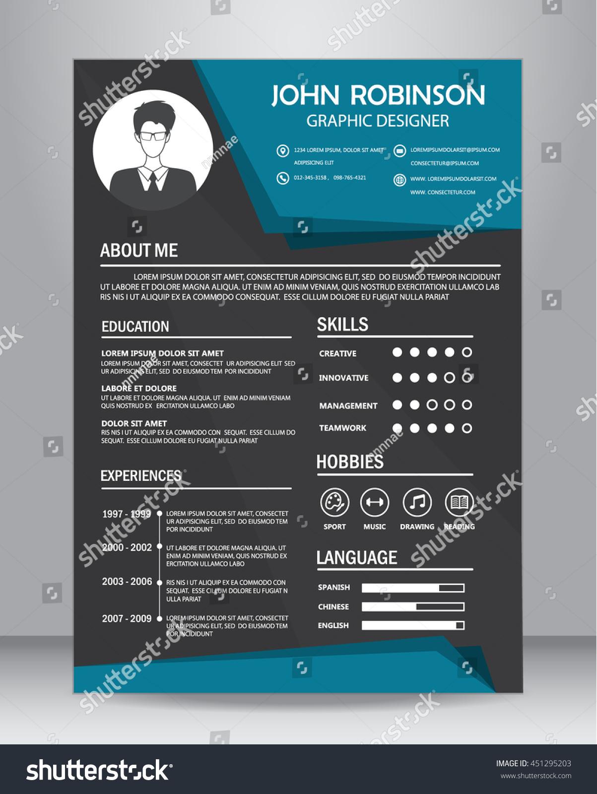 job resume cv design template layout のベクター画像素材