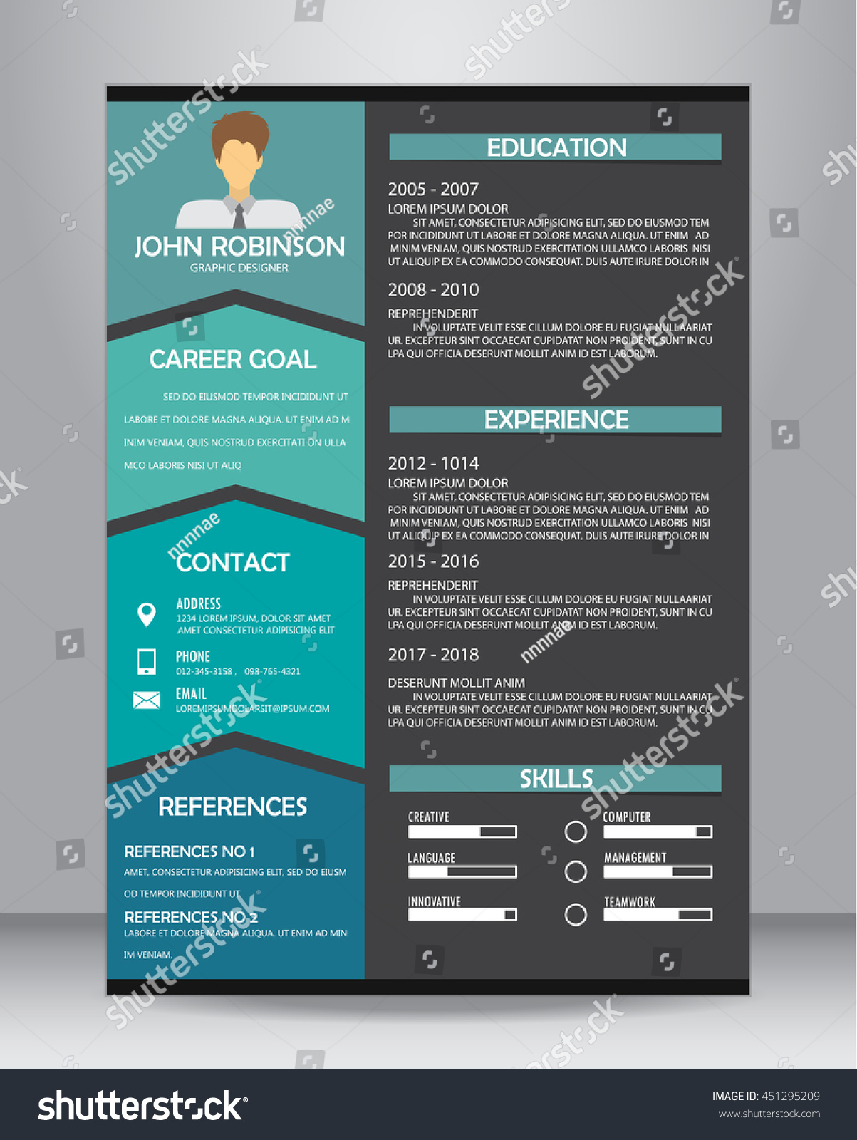 Job Resume Cv Template Layout Template Stock Vector 451295209 ...