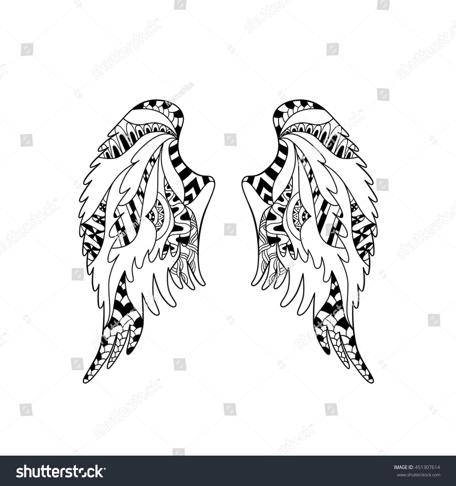 angel bird wings ornate silhouette vector stock vector 451307614