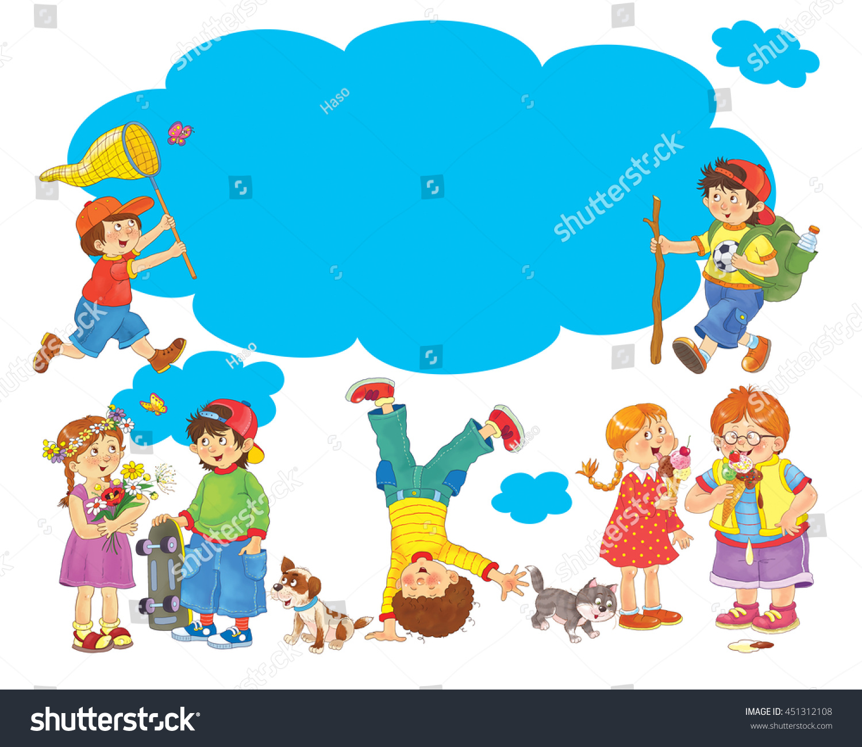 Set Cute Funny Kids Enjoying Their Stock Illustration 451312108 ...