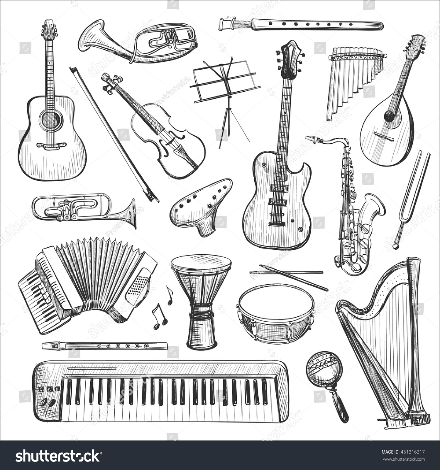 Vector set of sketches of musical instruments isolated pictures on a white background