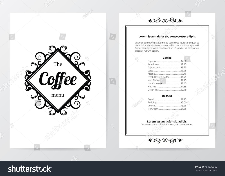 Black White Coffee Menu Template Center Stock Vector - Basic menu template