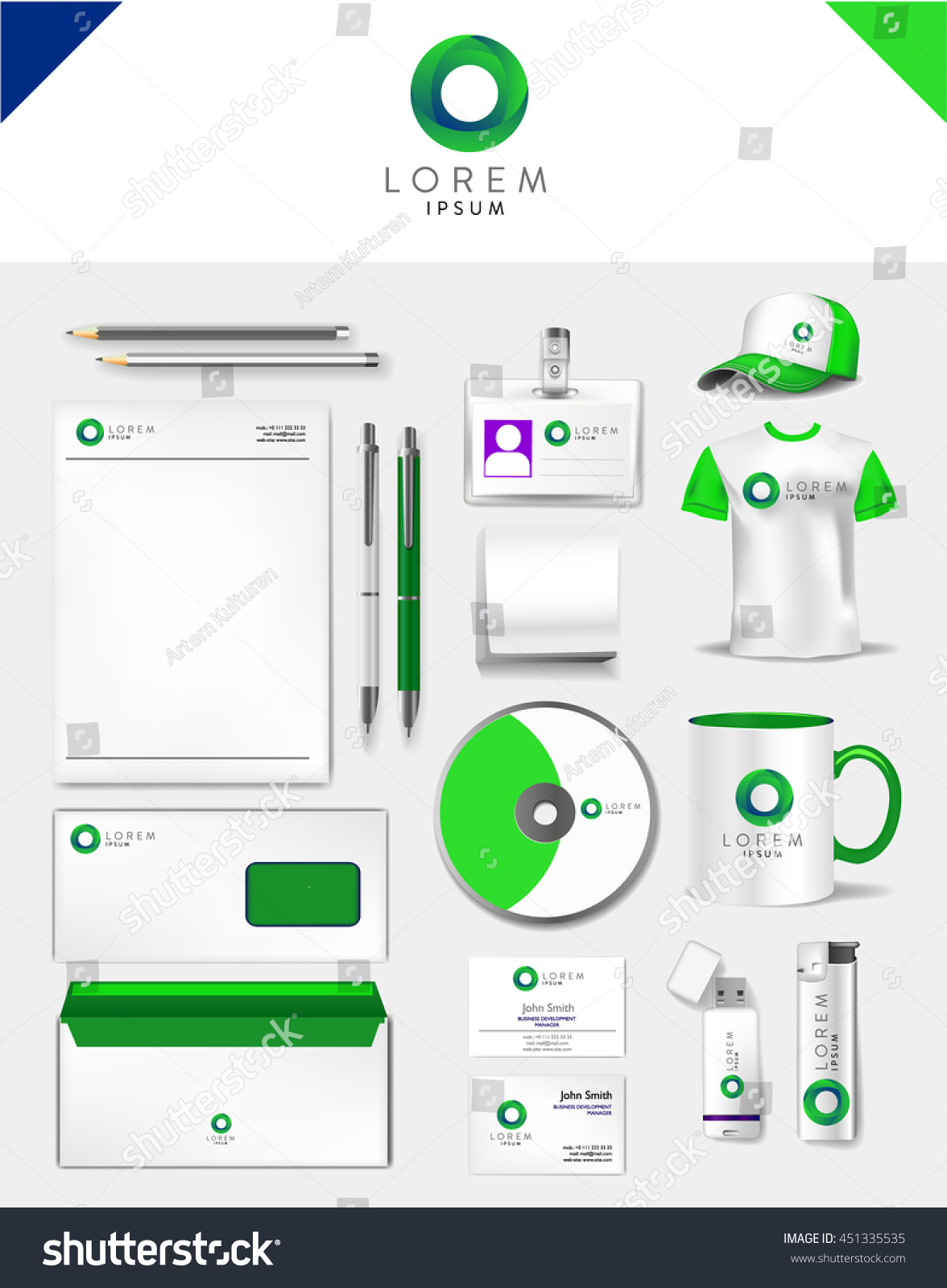 Corporate green identity template realistic cup stock vector corporate green identity template realistic cup business card letterhead envelope usb wajeb Choice Image