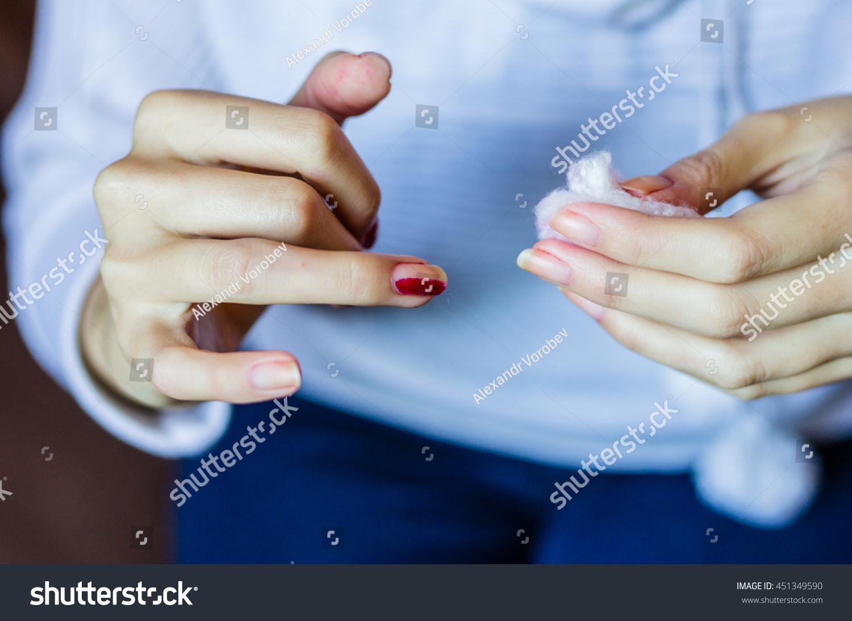 Woman Long Red Nails Removing Nail Stock Photo (Royalty Free ...