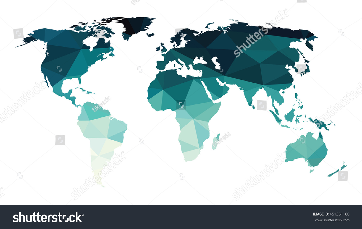 Blue green flat world map low stock vector 451351180 shutterstock blue green flat world map low polygon background isolated on white gradient shadow crystal style gumiabroncs Images