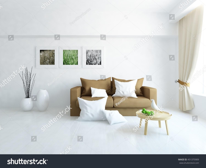 White Room Brown Sofa Living Room Stock Illustration 451375909 ...