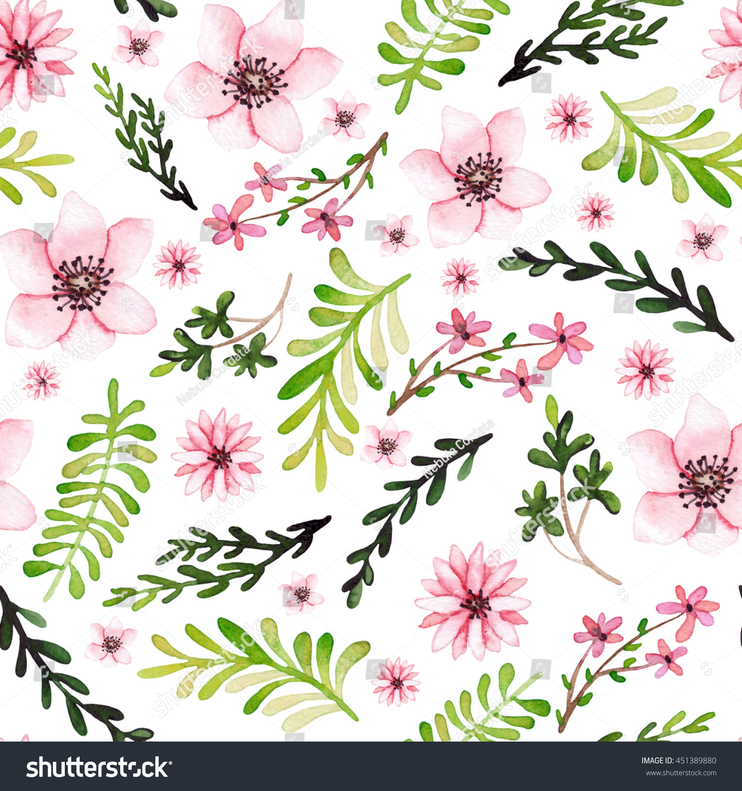Watercolor Light Pink Flowers And Bright Green Leaves Seamless