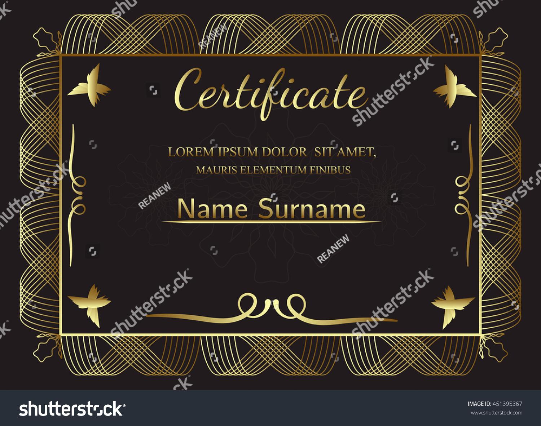 Golden Certificate Template Vintage Frame Border Stock Vector
