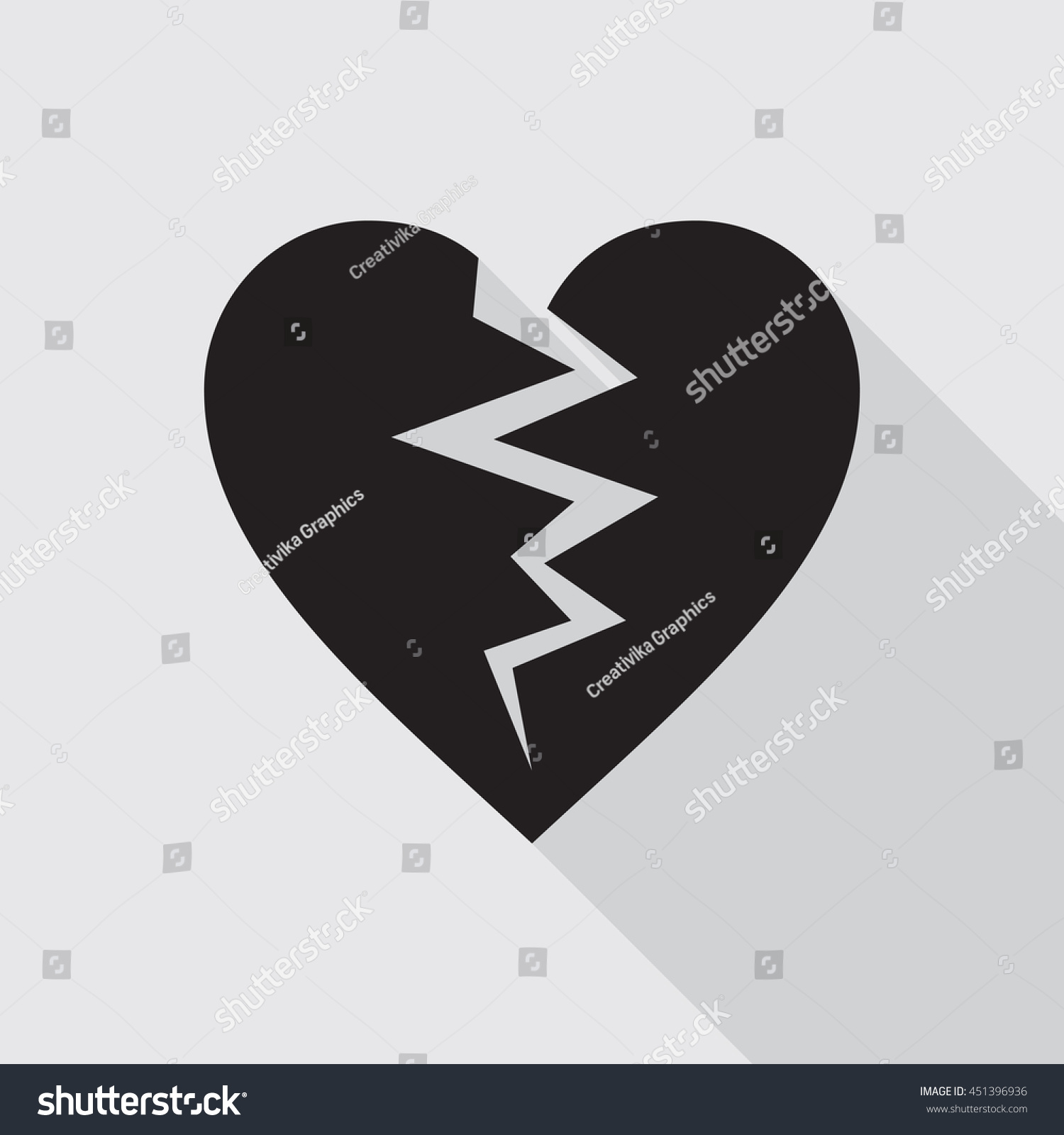 Black Broken Heart Flat Icon On Gray Background. Hurt Love Symbol. Vector  Illustration In