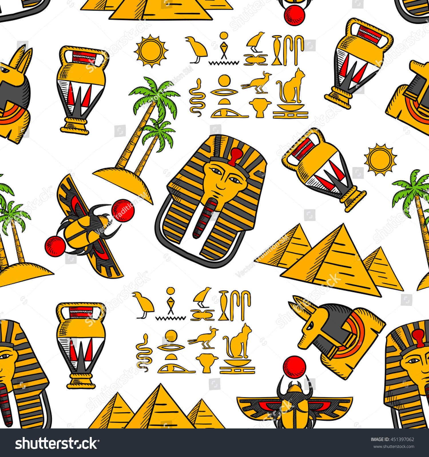 Seamless Pattern Ancient Egyptian Hieroglyphics Pharaoh Stock Vector