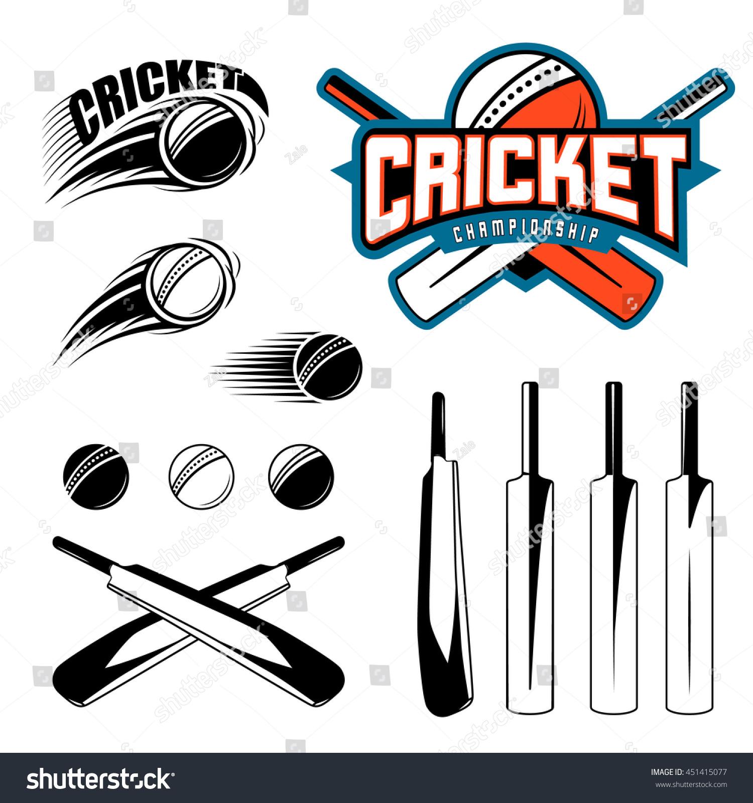 set cricket sports template logo elements のベクター画像素材