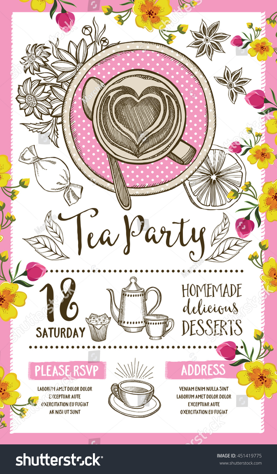 tea party menu template - tea party invitation template design vintage stock vector