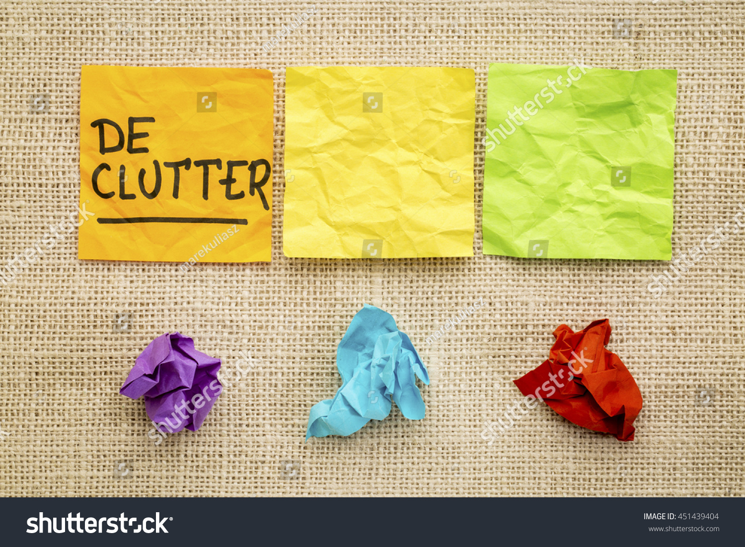 Declutter concept colorful sticky notes against stock photo declutter concept colorful sticky notes against burlap canvas jeuxipadfo Images