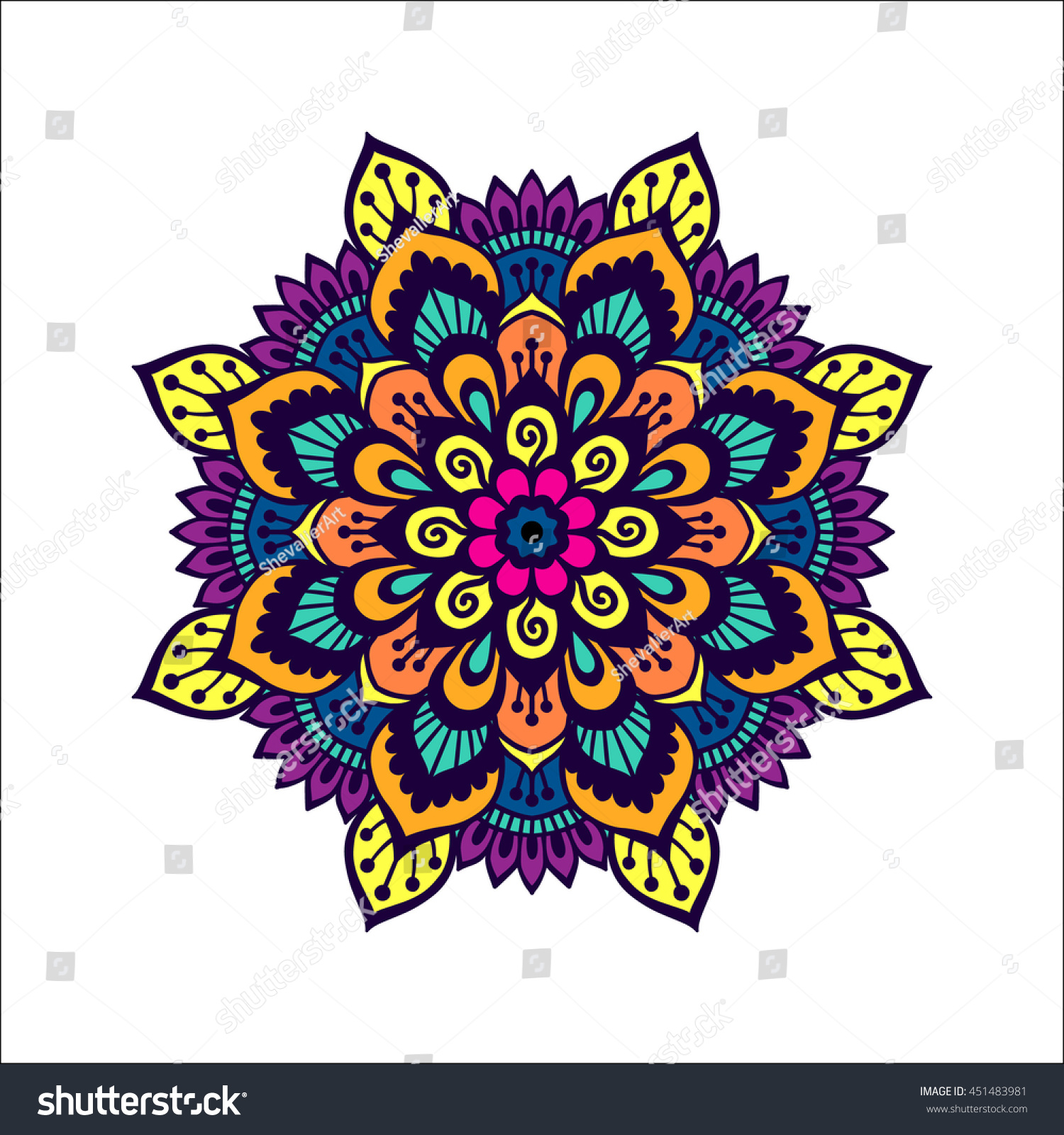 Colorful Henna Designs: Colorful Mehendi Style Mandala Design Henna Stock Vector