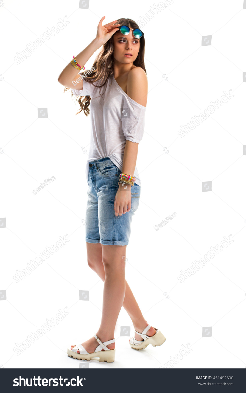 Young Woman White Tunic Wedge Sandals Stock Photo Edit Now Torch Tunik Women Blue Black Navy L In And Shorts Summer Outfit Accessories
