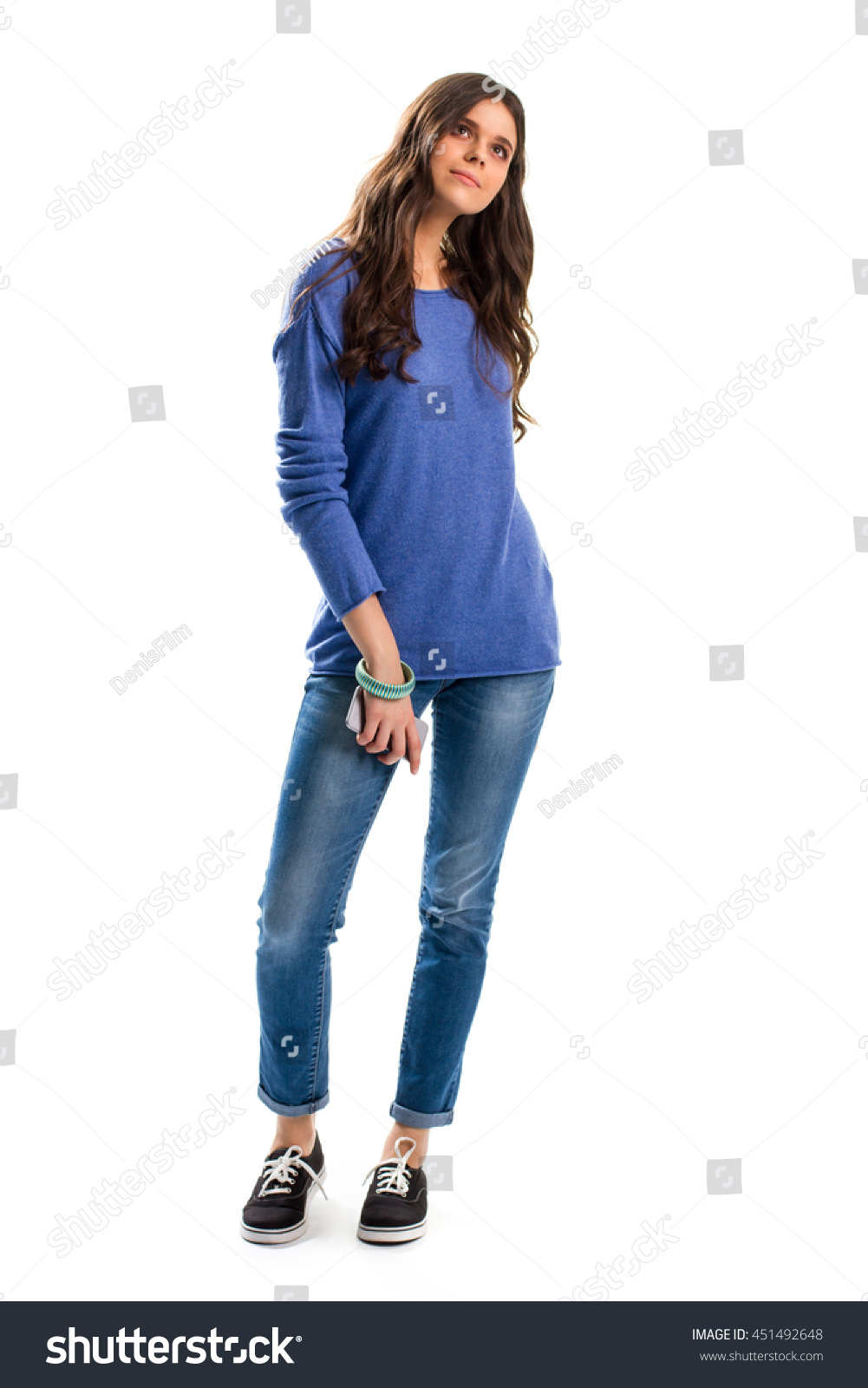 Woman Blue Sweater Young Lady Holding Stock Photo 451492648 ...