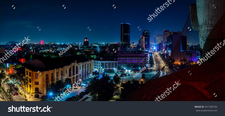 Downtown Mexico City Skyline Night Top Imagen De Archivo