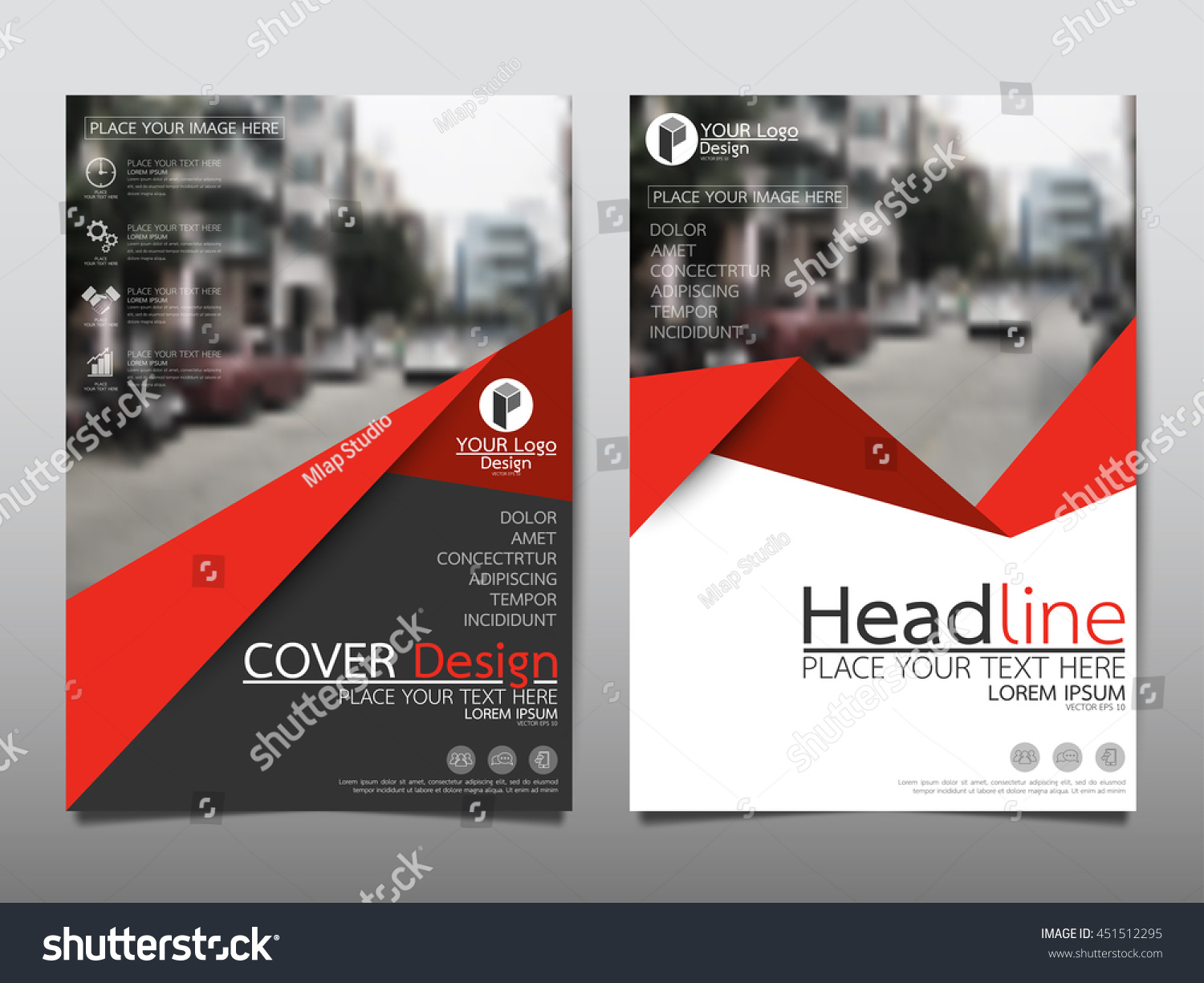 red brochure template - red triangle business annual report brochure stock vector