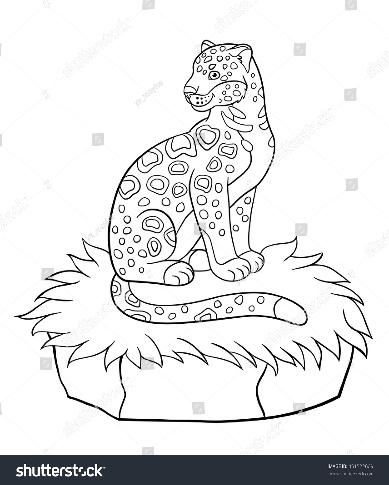 Coloring Pages Cute Spotted Jaguar Sits On The Grass And Smiles