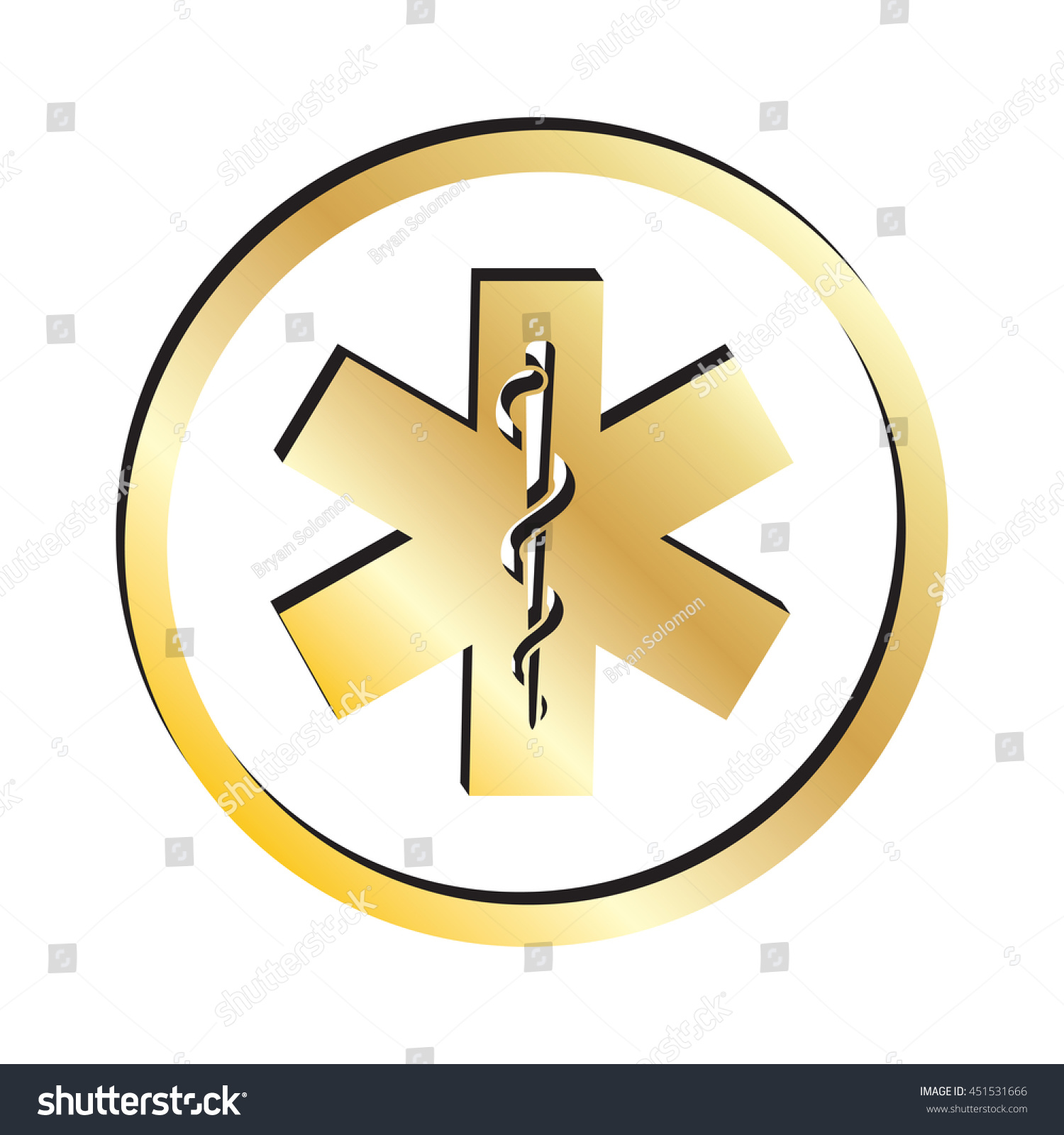 Gold Rod Asclepius Snake Staff Medical Stock Vector Royalty Free