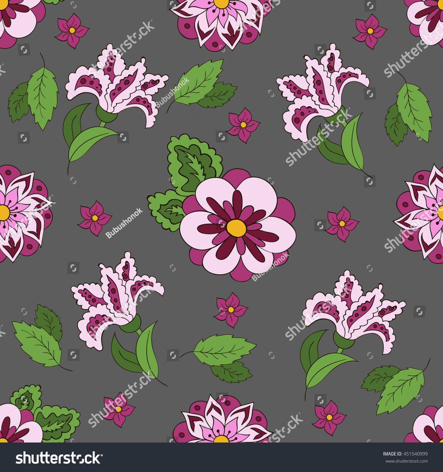 White seamless pattern with spring flowers cover background violet and green colors