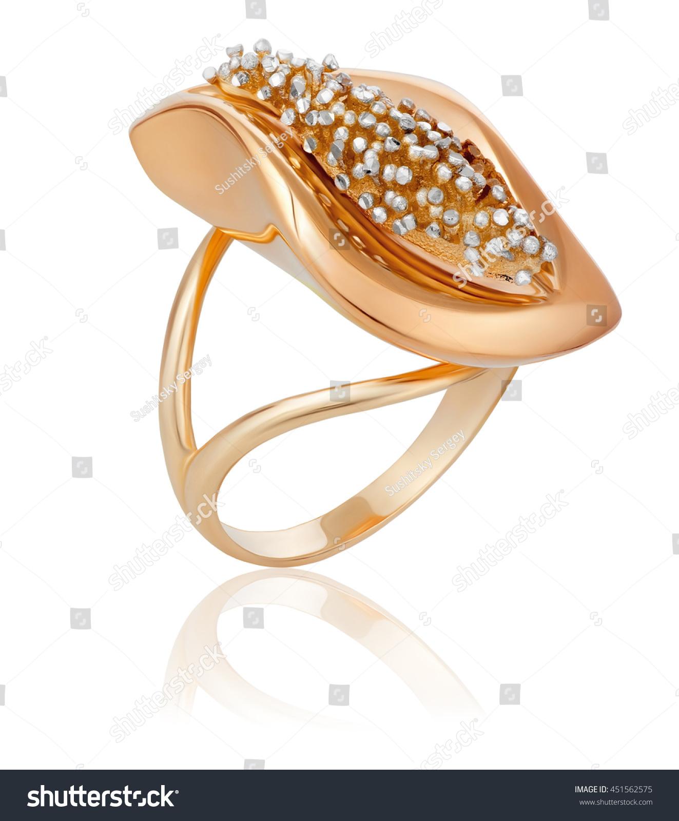Fashionable Stylish Golden Ring Original Gold Stock Photo ...