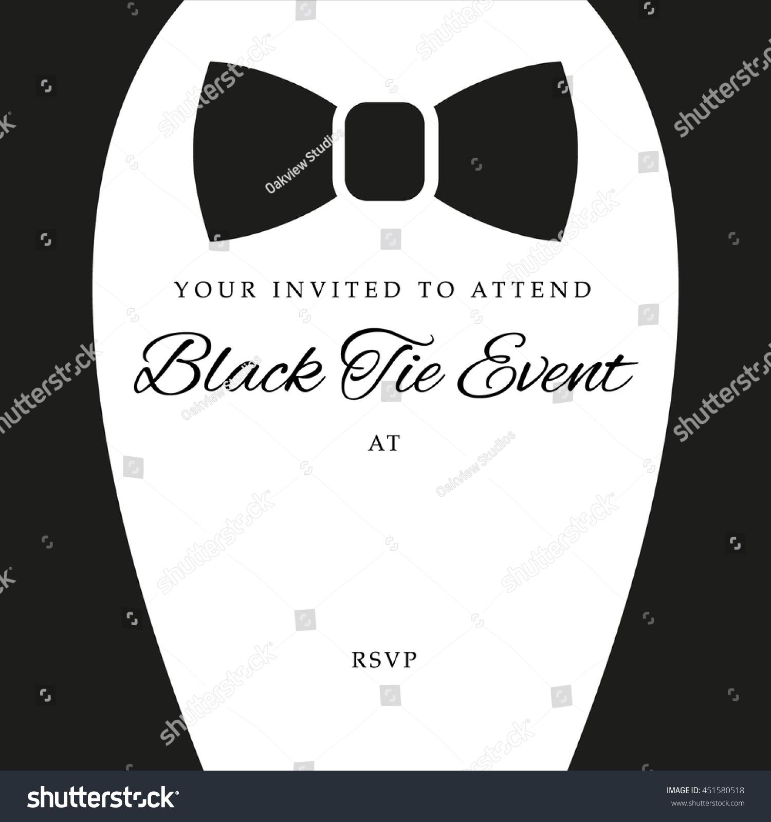 black tie event invite template vector のベクター画像素材