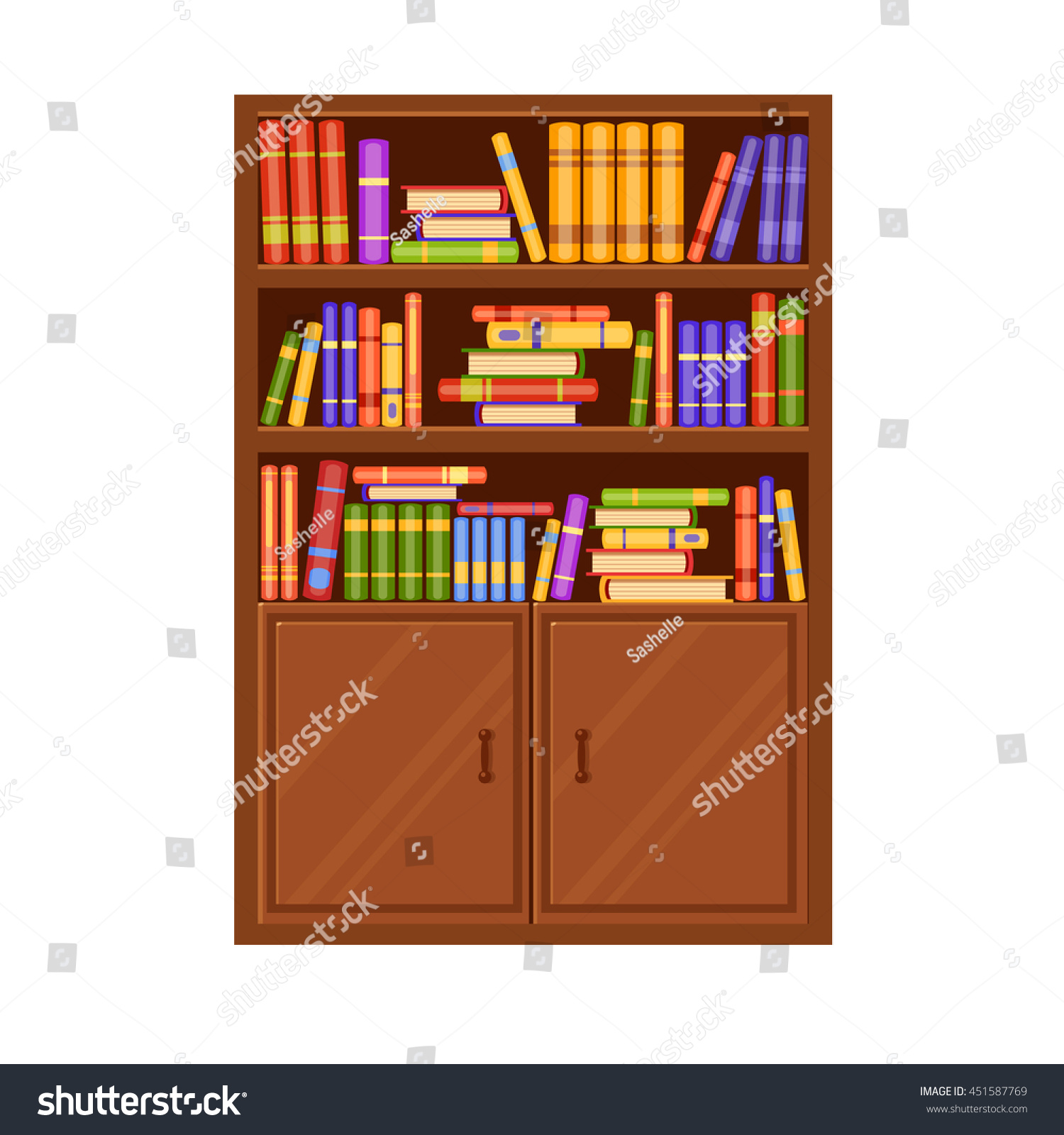 Interior wooden shelves free vector - A Brown Wooden Vector Bookcase With Many Books On Its Shelves Home Library Love
