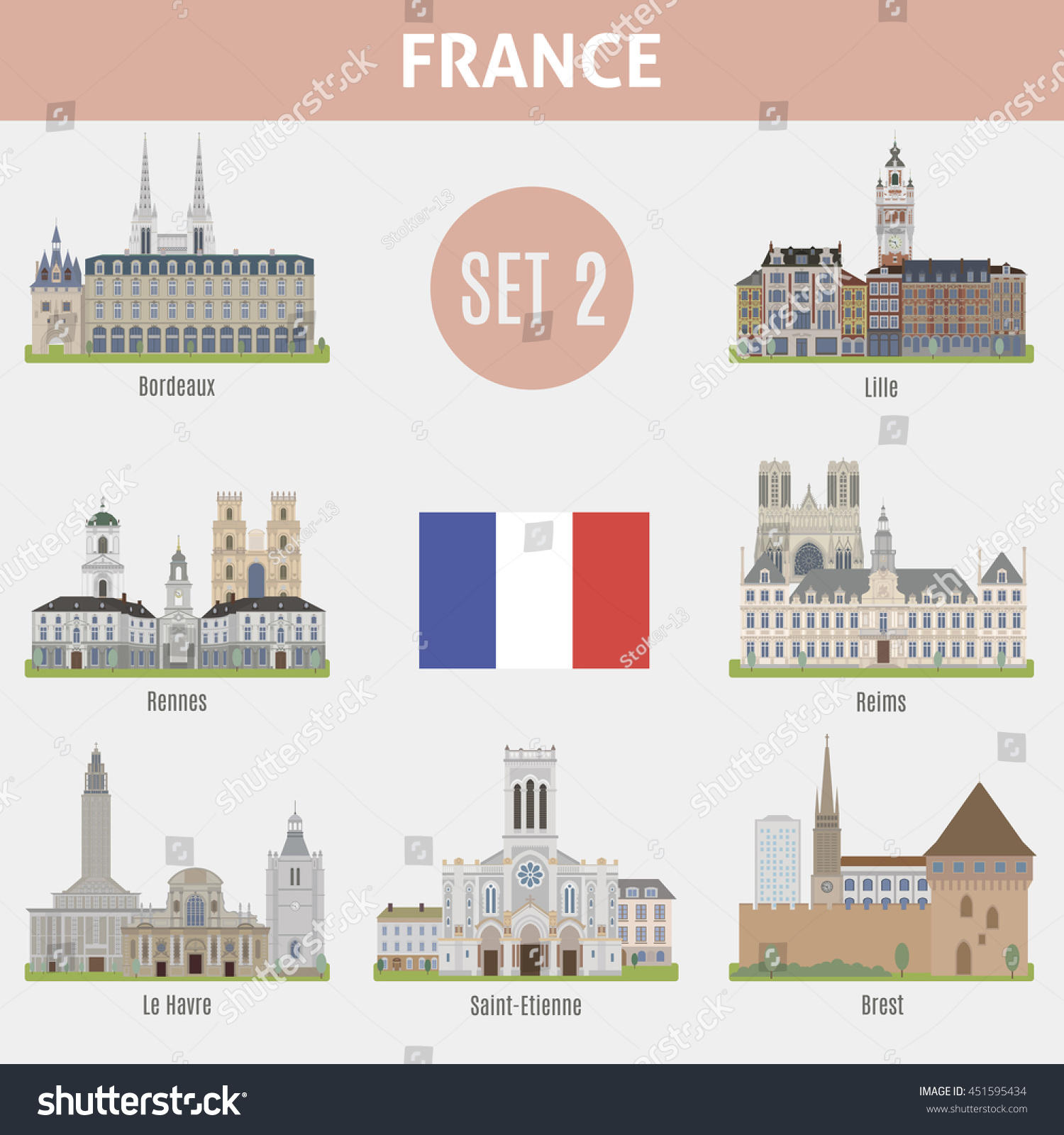 Famous Places Cities France Bordeaux Lillerennes Stock Vector Royalty Free