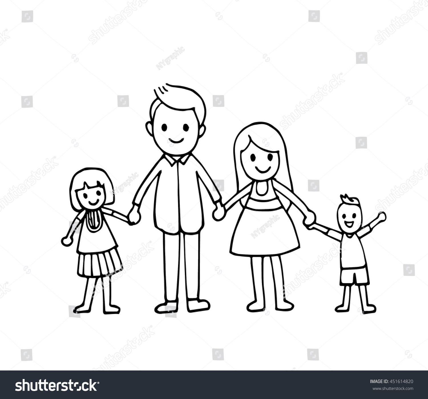 Vector Hand Draw Happy Family Holding Stock Vector 451614820 - Shutterstock