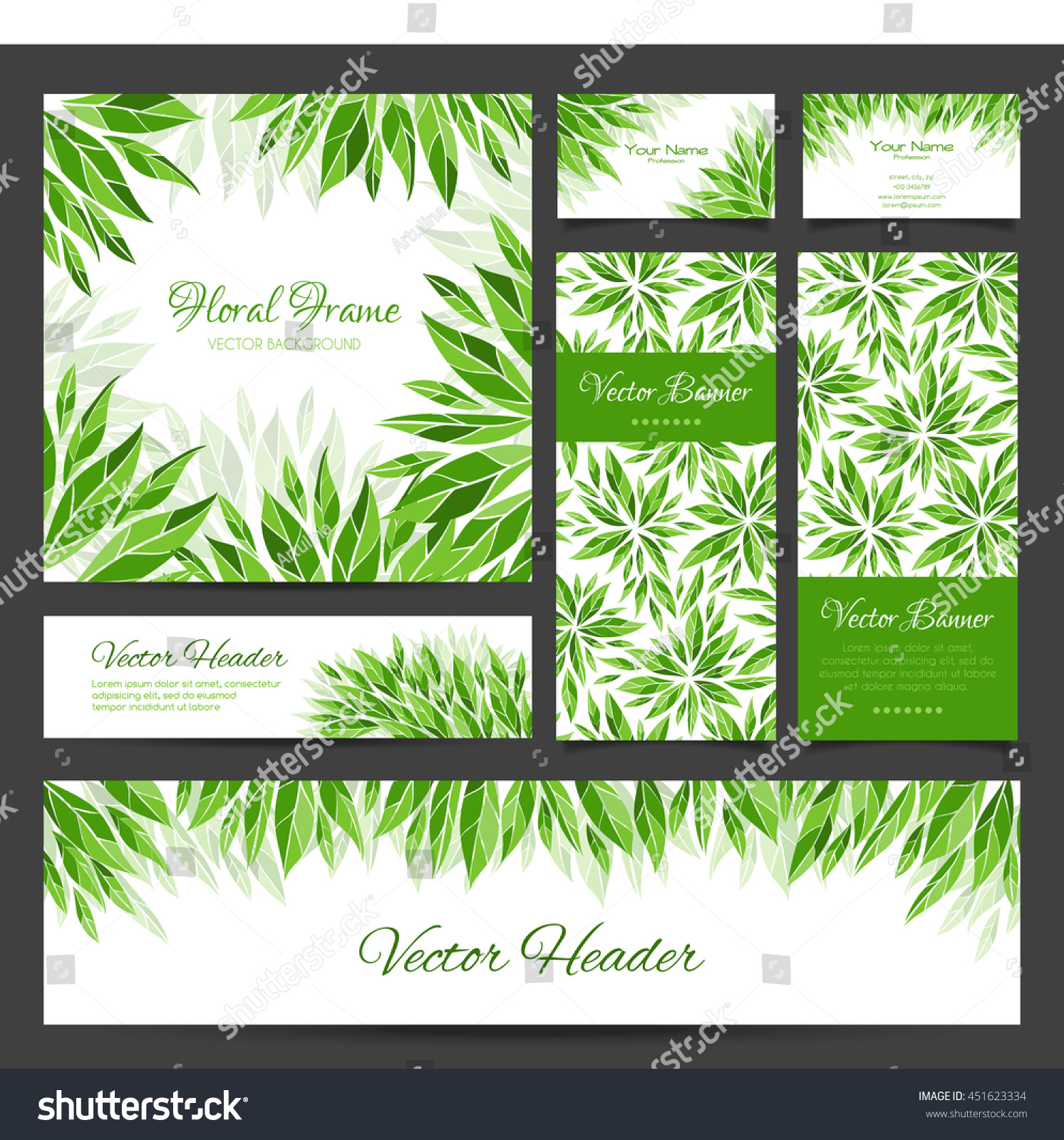Set vector banners business card frame stock vector 451623334 set of vector banners business card frame and headers in the same floral style magicingreecefo Gallery