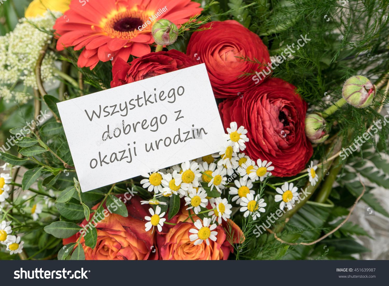 Polish greeting card birthday red flowers stock photo download now polish greeting card birthday with red flowers happy birthday birthday card izmirmasajfo