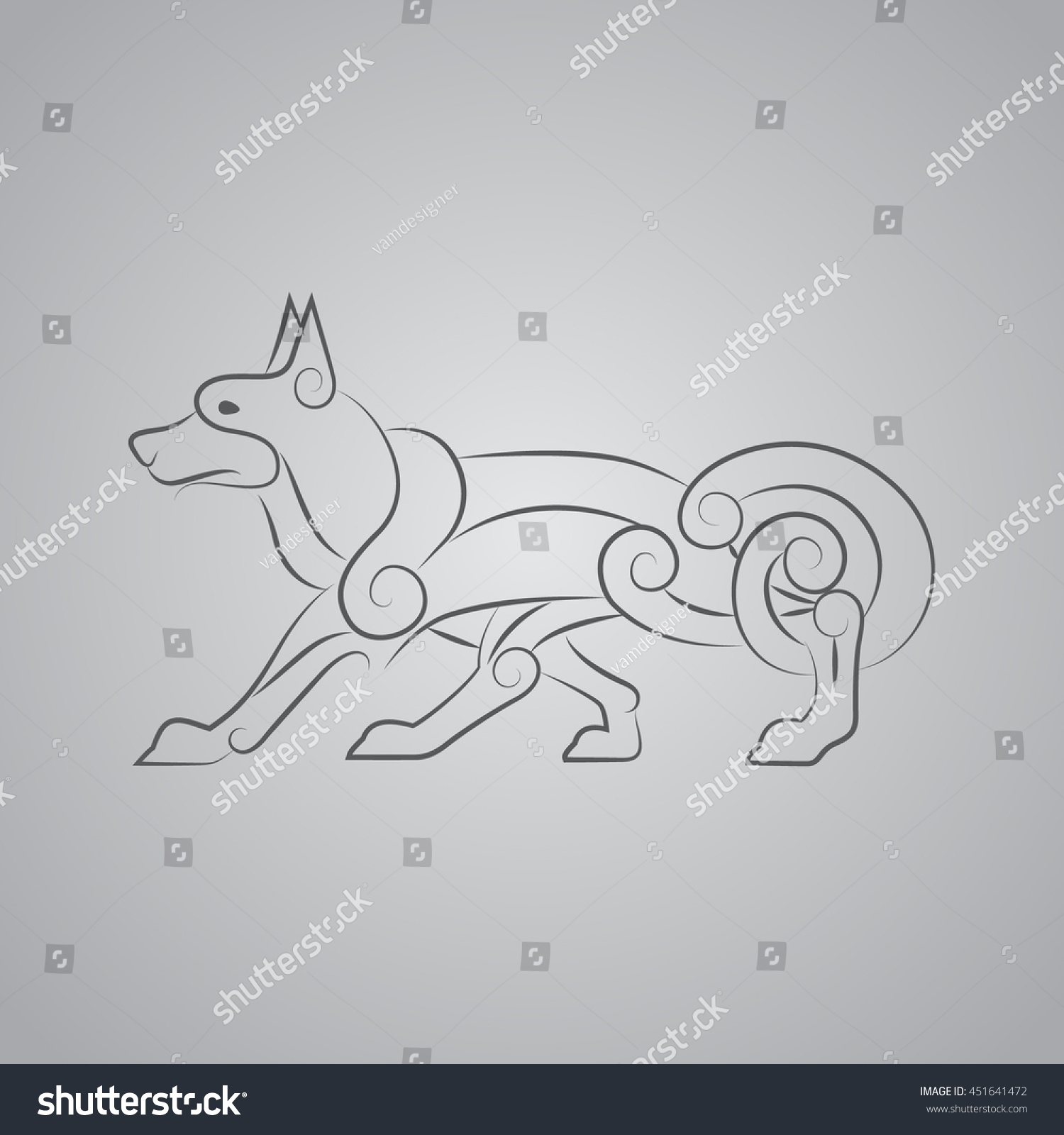 Ancient Celtic Symbol Wolf Dog Stock Vector Royalty Free 451641472