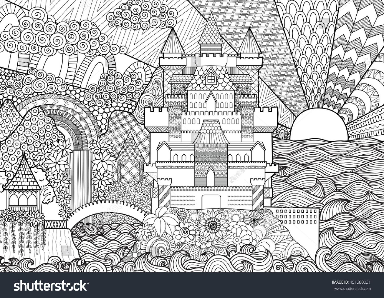 zendoodle castle landscape background coloring stock vector