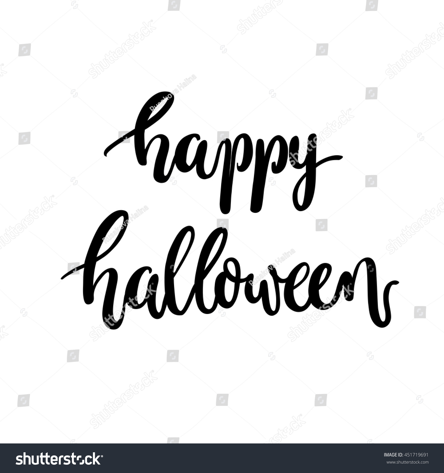 Brush lettering happy halloween calligraphy script stock