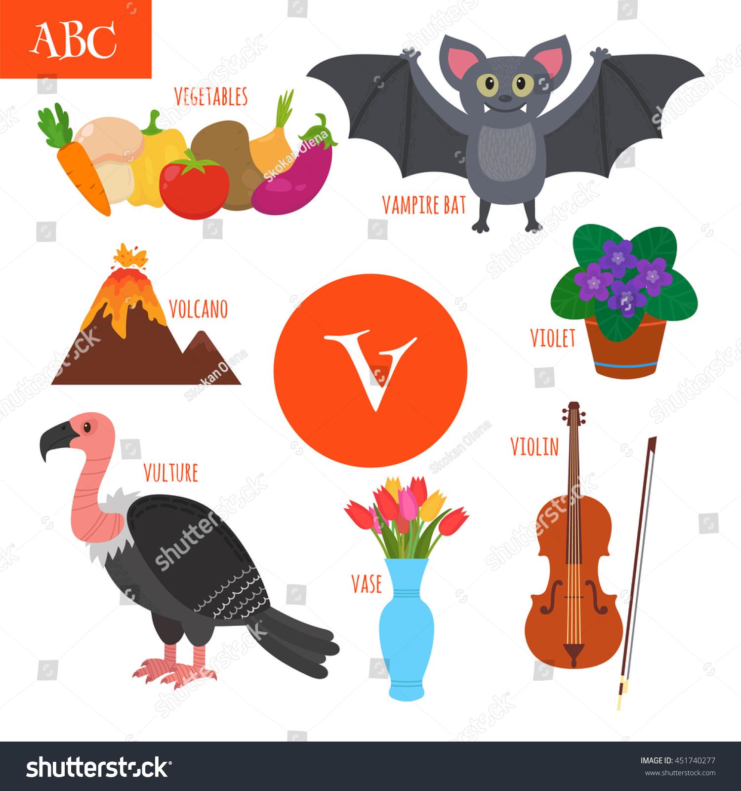 Letter V Cartoon Alphabet Children Violin Stock Vector (Royalty